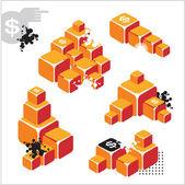 Icone di affari con il lingotto d'oro e decorazione. — Vettoriale Stock
