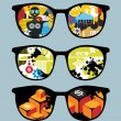 Retro set of sunglasses with cool  reflection in it. — Stock Vector