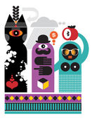 The ghost, English gentleman and black woman. — Stock Vector