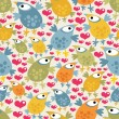 Seamless pattern with cute birds and hearts. — Stockvector