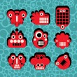Cartoon robots and monsters faces in color on seamless pattern #4. — Stock Vector #10646392