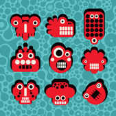 Cartoon robots and monsters faces in color on seamless pattern #4. — Stock Vector