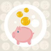 Piggy bank card. — Stock Vector