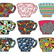 Set of tea cups with cool patterns. - Stock Vector