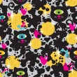 Cute monsters cats and money  seamless pattern. - Stock Vector