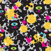 Cute monsters cats and money seamless pattern. — Stock Vector