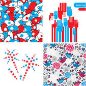 Patriotic illustrations and seamless patterns with birds for the 4th of July. — Stock Vector