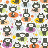 Cute animals seamless pattern. — Stock Vector