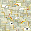 Rainbow in the city seamless pattern. — Vector de stock