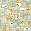 Rainbow in the city seamless pattern. — Stockvector