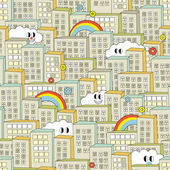 Rainbow in the city seamless pattern. — Stock Vector