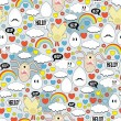 Crazy seamless pattern with eggs and monsters. — Vector de stock  #8383191