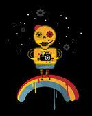Skelett auf dem regenbogen. — Stockvektor