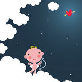 Cute cupid on the cloud. — Stock Vector