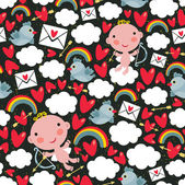 Cupid with hearts and birds seamless pattern. — Stock Vector