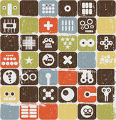 Robot and monsters on buttons seamless pattern. — Stock Vector