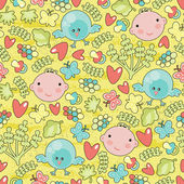 Baby and birds seamless background. — ストックベクタ
