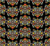 Big robots seamless pattern in black. — Vector de stock