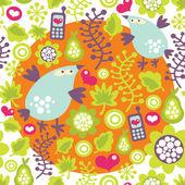Nahtlose muster mit vögeln und mobiltelefone. — Stockvektor