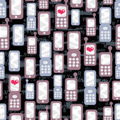 Seamless pattern with mobile phones and hearts. — Vector de stock