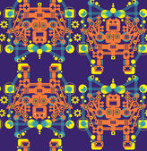Big robots seamless pattern in orange. — Vettoriale Stock