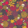 Skulls and flowers pattern. — Stock Vector
