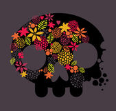 Skull and flowers. — Stock Vector