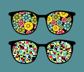 Retro eyeglasses with crazy pattern reflection in it. — Stock Vector