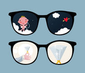 Retro eyeglasses with cute and romantic reflection in it. — Stock Vector