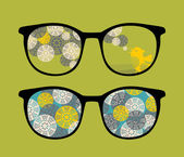 Retro eyeglasses with birds reflection in it. — Vector de stock