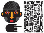 Black head man and seamless pattern. — Stock Vector