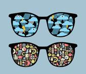 Lunettes de vue rétro avec réflexion de symboles dedans. — Vecteur