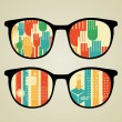 Retro eyeglasses with abstract reflection in it. — Stock Vector