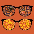 Retro eyeglasses with halloween reflection in it. - Stock Vector