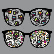 Retro eyeglasses with black cats reflection in it. — Stock Vector