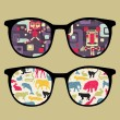 Retro eyeglasses with old school reflection in it. — Stock Vector