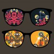 Retro eyeglasses with robots reflection in it. — Stock Vector