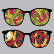 Retro eyeglasses with abstract space reflection in it. — Stockvector