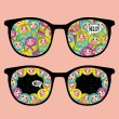 Stock Vector: Retro eyeglasses with crazy dolls reflection in it.