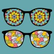 Royalty-Free Stock Vector Image: Retro eyeglasses with sweet birds reflection in it.
