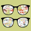Royalty-Free Stock Vector Image: Retro eyeglasses with disorder reflection in it.