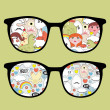 Retro eyeglasses with disorder reflection in it. - Image vectorielle