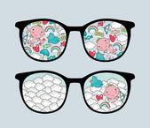 それで素敵な反射とレトロなメガネ. — ストックベクタ