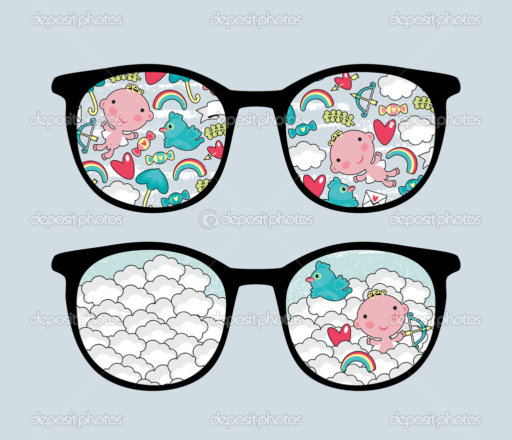 Retro eyeglasses with lovely reflection in it. Vector illustration of accessory - isolated sunglasses.  Stock Vector #9877634
