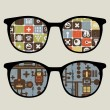 Retro sunglasses with cute robot patterns reflection in it. — Stock Vector
