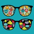 Royalty-Free Stock Vector Image: Retro sunglasses with robots and monsters reflection in it.