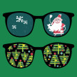 Royalty-Free Stock Vector Image: Retro sunglasses with new year reflection in it.