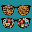 Vector de stock : Retro sunglasses with cool monsters reflection in it.