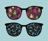 Retro sunglasses with strange creatures reflection in it. — Stock Vector
