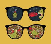Retro sunglasses with cute dragon reflection in it. — Stock Vector
